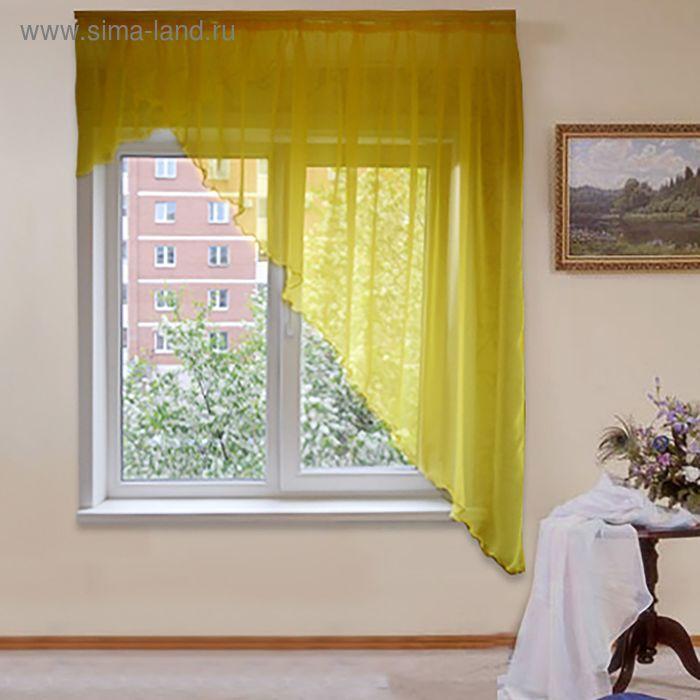 """Штора для кухни """"Солнышко"""" со шторной лентой, ширина 300 см, высота 180 см, цвет жёлтый"""