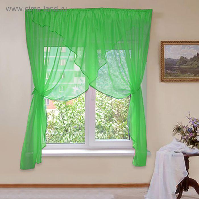 """Штора для кухни """"Флоренция"""" со шторной лентой, ширина 320 см, высота 180 см, цвет зелёный"""