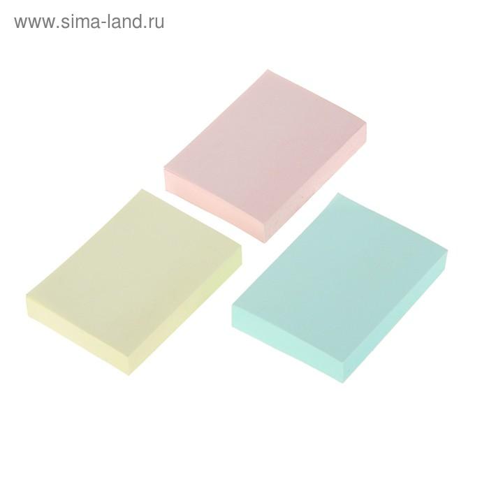 Блок с липким краем 38х51мм Hopax 100 листов 21004 пастельный, 3 цвета