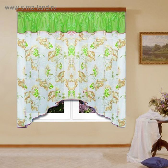 """Штора для кухни """"Нарцисс"""" со шторной лентой, ширина 300 см, высота 170 см, цвет зелёный, принт микс"""