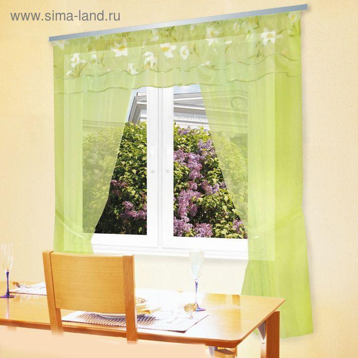 """Штора для кухни """"Каприз"""" со шторной лентой, ширина 300 см, высота 180 см, ламбрекен 300х35 см, цвет зелёный, принт микс"""