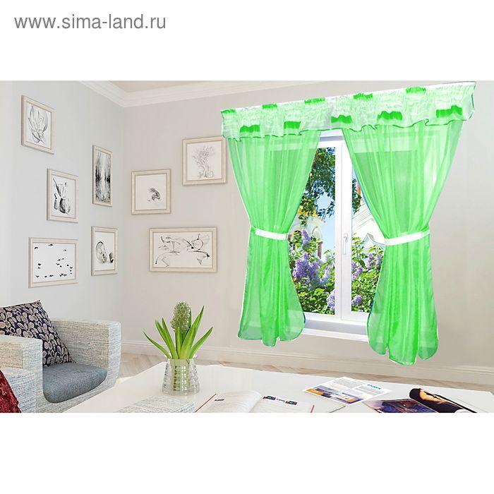 """Штора для кухни """"Диана"""" со шторной лентой, ширина 300 см, высота 170 см, ламбрекен 300х35 см, цвет зелёный, принт микс"""
