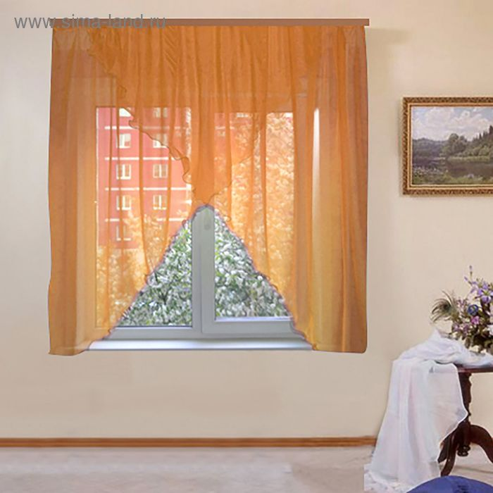 """Штора для кухни """"Афродита"""" со шторной лентой, ширина 300 см, высота 180 см, цвет бежевый"""