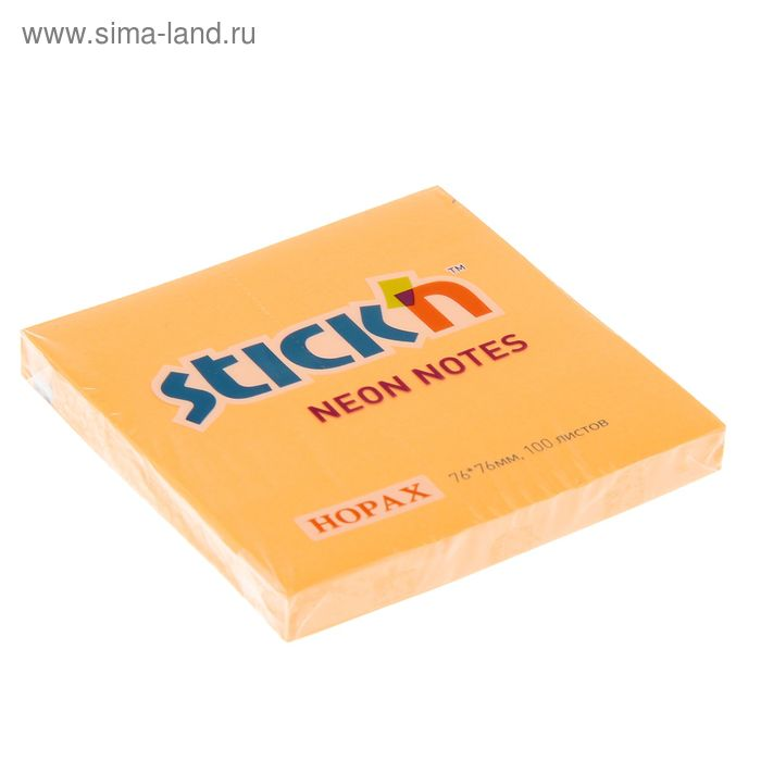 Блок с липким краем 76х76мм Hopax 100 листов 21164 Neon оранжевый