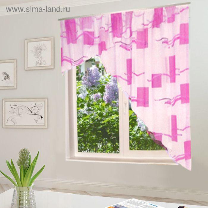 """Штора для кухни """"Солнышко"""" со шторной лентой, ширина 300 см, высота 180 см, цвет розовый, принт микс"""