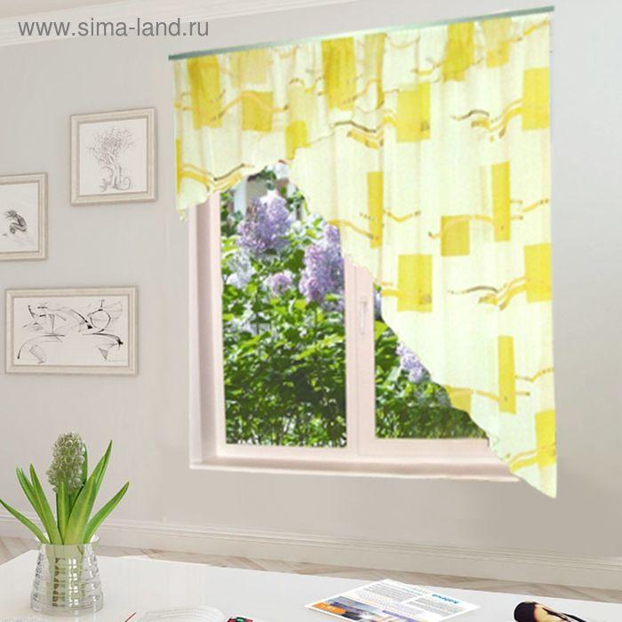 """Штора для кухни """"Солнышко"""" со шторной лентой, ширина 300 см, высота 180 см, цвет жёлтый, принт микс"""