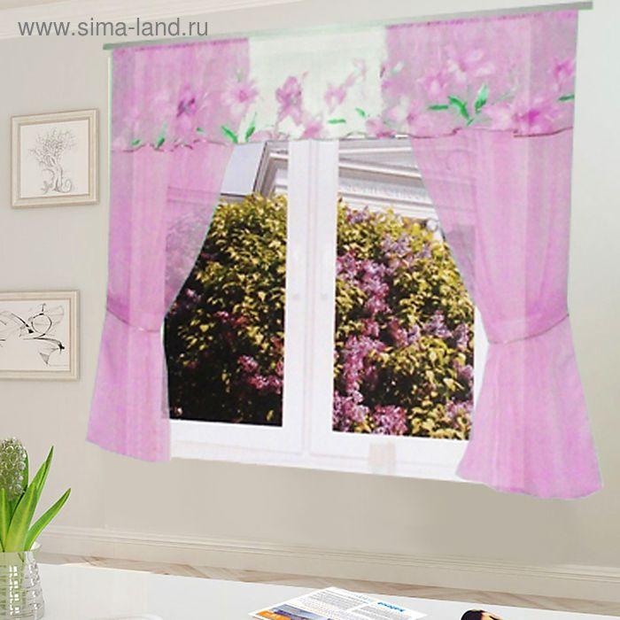 """Штора для кухни """"Домовёнок"""" со шторной лентой, ширина 300 см, высота 150 см, цвет розовый, принт микс"""