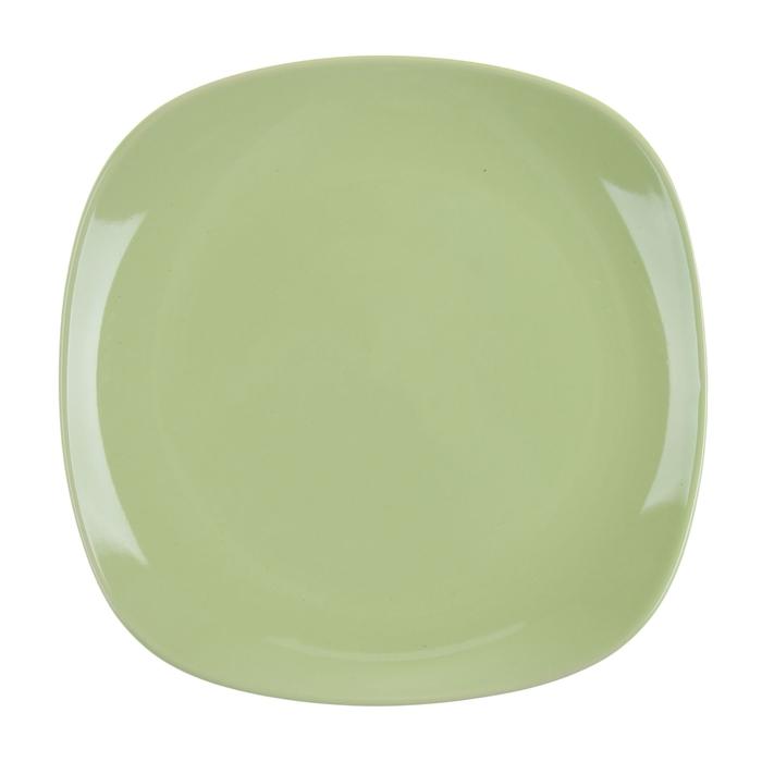 """Тарелка десертная 195 мм """"Пастель"""", квадратная, зеленая"""
