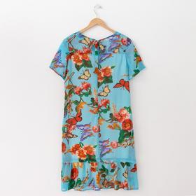 Платье женское, размер 50, рост 164 см, цвет голубой/цветочный принт (арт. 15-09)