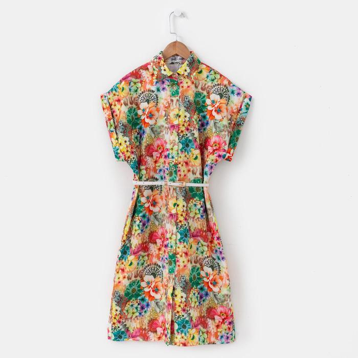 Платье женское, размер 44, рост 164 см, цвет белый/цветочный принт (арт. 14-80)