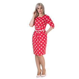 Платье женское, размер 48, рост 164 см, цвет арбузный/цветочный принт (арт. 14-66)