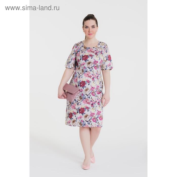Платье женское, размер 54, рост 164 см, цвет бежевый/цветочный принт (арт. 15-11)
