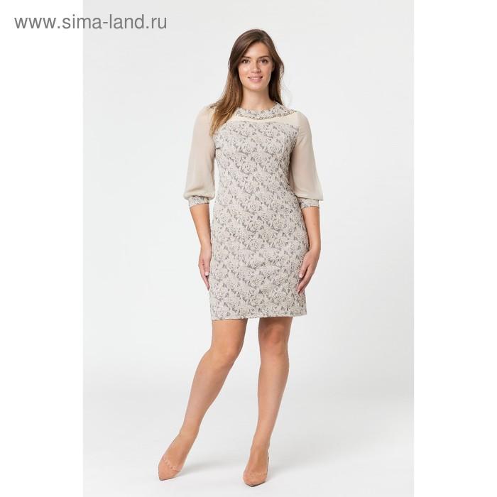 Платье женское, размер 52, рост 164 см, цвет бежевый (арт. 14-68)