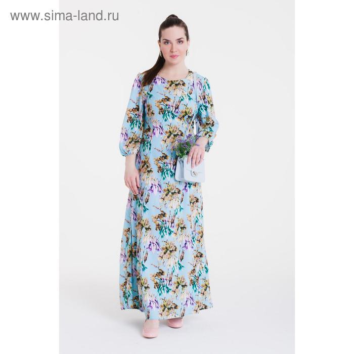 Платье женское, размер 50, рост 164 см, цвет голубой/цветочный принт  (арт. 14-87 С+)