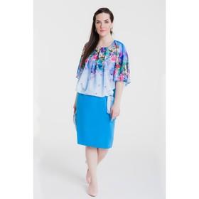 Платье женское, размер 52, рост 164 см, цвет голубой/цветочный принт (арт. 15-14)