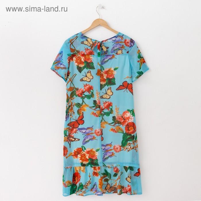 Платье женское, размер 52, рост 164 см, цвет голубой/цветочный принт (арт. 15-09)