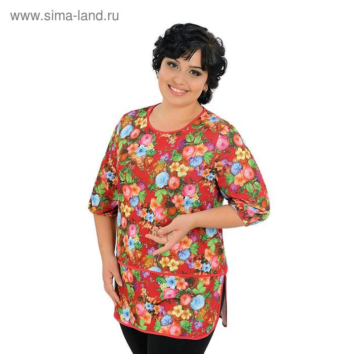 Блузка женская, размер 52, рост 164 см, цвет бордовый/цветочный принт (арт. 40-11)