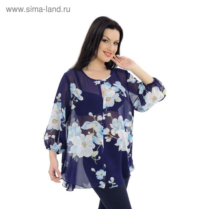 Блузка женская, размер 52, рост 164 см, цвет тёмно-синий/цветочный принт (арт. 40-01)