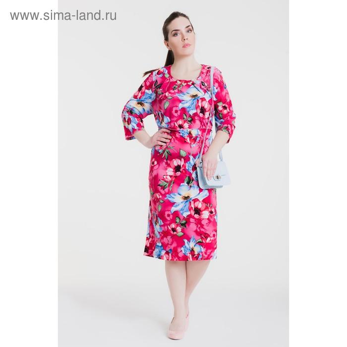 Платье женское, размер 54, рост 164 см, цвет морская волна/цветочный принт (арт. 15-03)