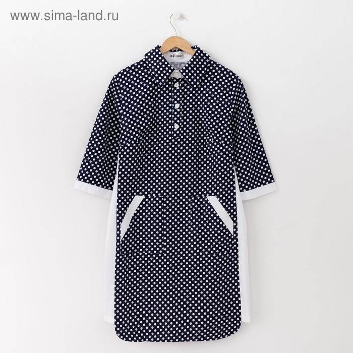 Платье женское, размер 54, рост 164 см, цвет тёмно-синий/белый горох (арт. 14-98)