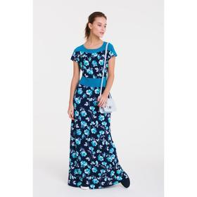Платье женское, размер 44, рост 164 см, цвет тёмно-синий/цветочный принт (арт. 14-96)