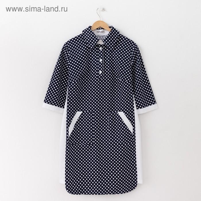 Платье женское, размер 56, рост 164 см, цвет тёмно-синий/белый горох (арт. 14-98)