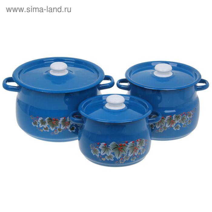 """Набор кастрюль """"Зимняя ягода"""", 3 предмета: 4 л, 5,5 л, 8 л"""