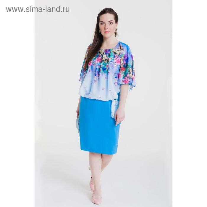 Платье женское, размер 50, рост 164 см, цвет голубой/цветочный принт (арт. 15-14)