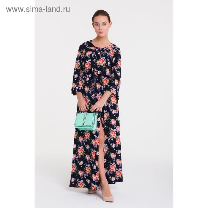 Платье женское, размер 50, рост 164 см, цвет тёмно-синий/цветочный принт (арт. 14-67 С+)