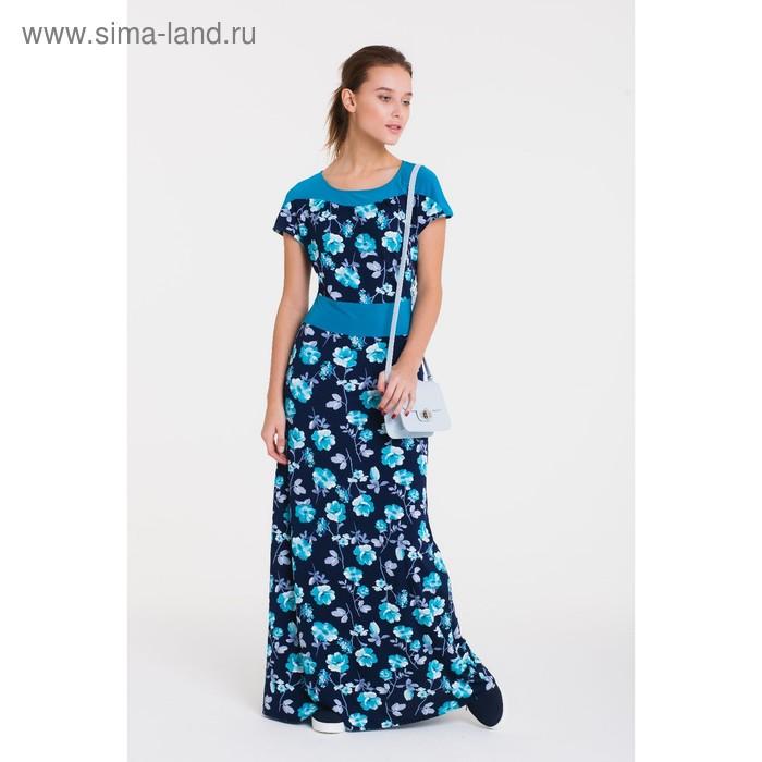 Платье женское, размер 46, рост 164 см, цвет тёмно-синий/цветочный принт (арт. 14-96)