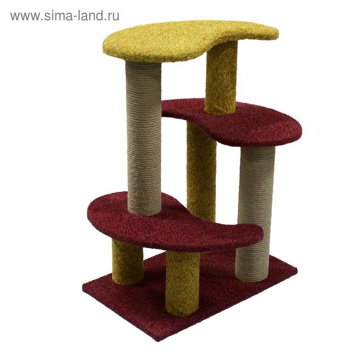 """Комплекс """"Инь-янь"""" с двумя когтеточками и тремя площадками, 60 х 40 х 80 см"""