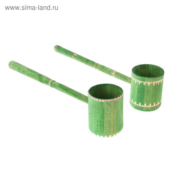 Ковш точёный-фигурный 0,4 л, крашеный резной, цвет еловая зелень
