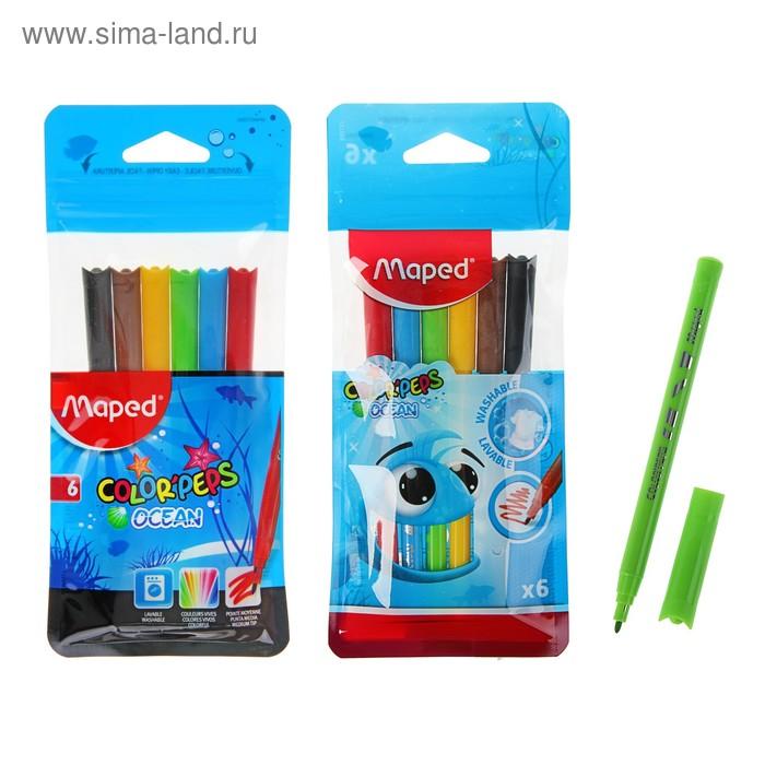 Фломастеры 6 цветов Color'Peps Ocean, блокированый пишущущий узел, супер смываемые
