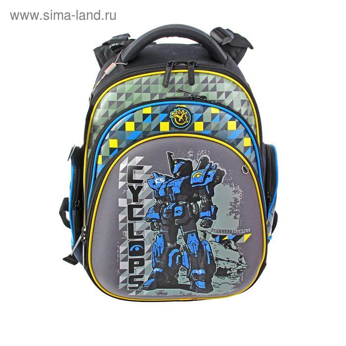 """Рюкзак каркасный Hummingbird 32*27*18 + мешок для обуви, для мальчика, """"Робот"""", черный/хаки ТК16"""