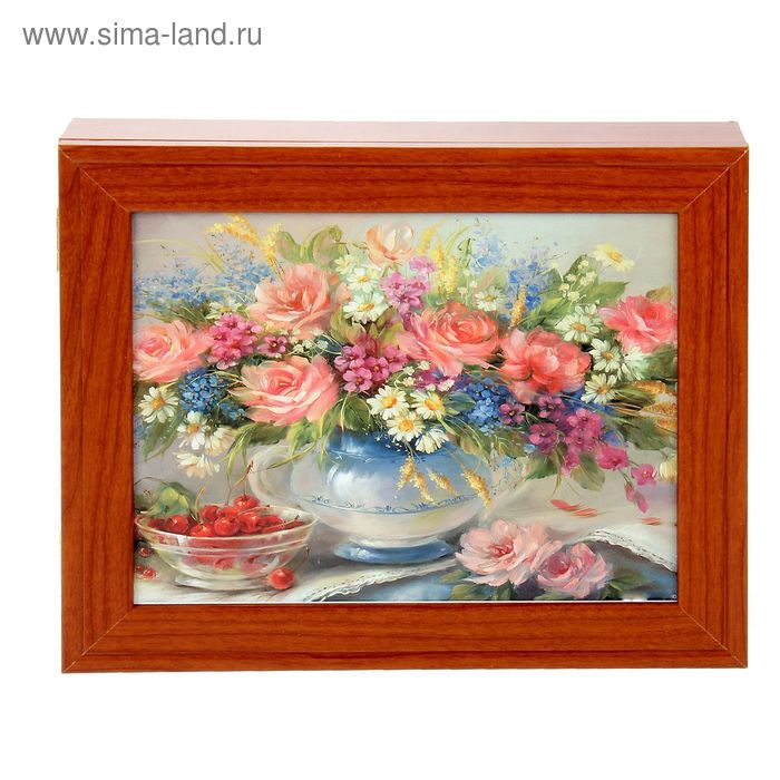 """Ключница """"Цветы в вазе"""" орех"""