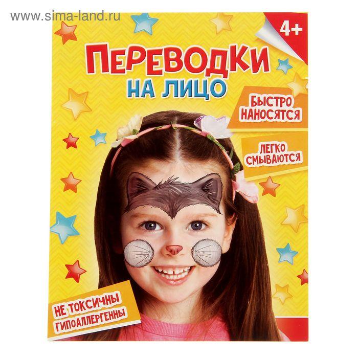 """Переводки на лицо """"Котик"""", 14 х 18 см"""