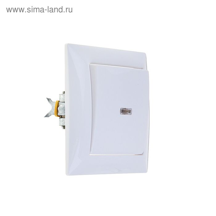 """Выключатель """"Кунцево"""" Селена 8102, 10 А, 1 клавиша, скрытый, с индикатором, белый"""