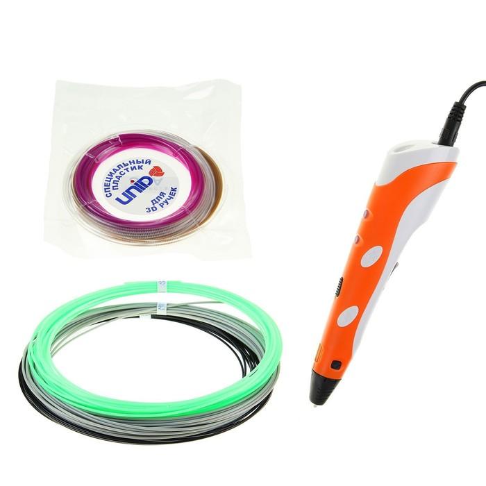 3D-ручка SPIDER PEN, оранжевая (трафарет + 6 цветов пластика)