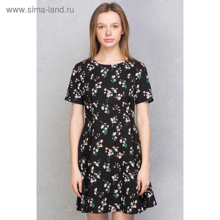 Платье женское, чёрный принт, размер 42 (XS), рост 170 см (арт. 1611331500)