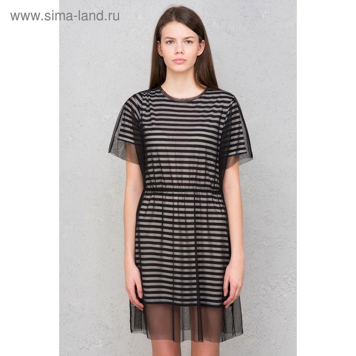 Платье женское, чёрный принт, размер 48 (XL), рост 170 см (арт. 1611330574)