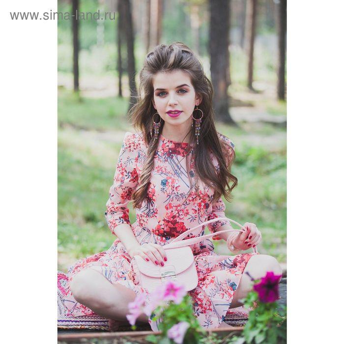 Платье женское, розовый принт, размер 42 (XS), рост 170 см (арт. 1611318558)
