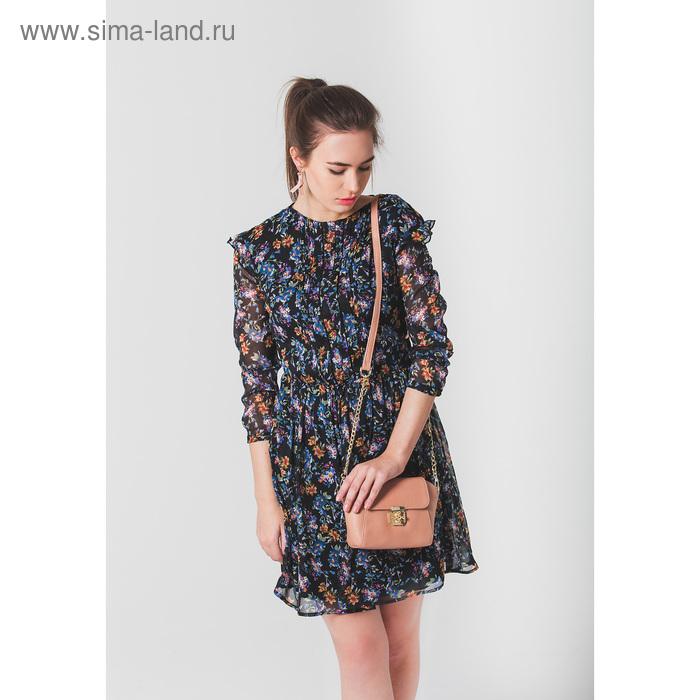 Платье женское, цвет чёрный с рисунком, размер 46 (M), рост 170 см (арт. 1611094539)