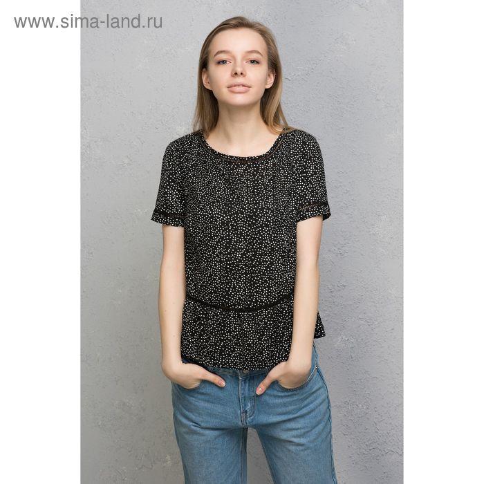 Блузка женская, цвет чёрный с рисунком, размер 48 (XL), рост 170 см (арт. 1611091317)