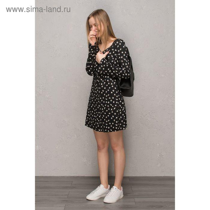 Платье женское, чёрный принт, размер 46 (M), рост 170 см (арт. 1611239567)