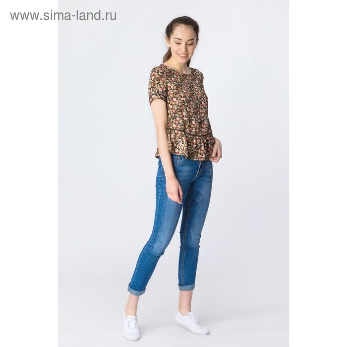 Блузка женская, коричневый принт, размер 46 (M), рост 170 см (арт. 1611091317)