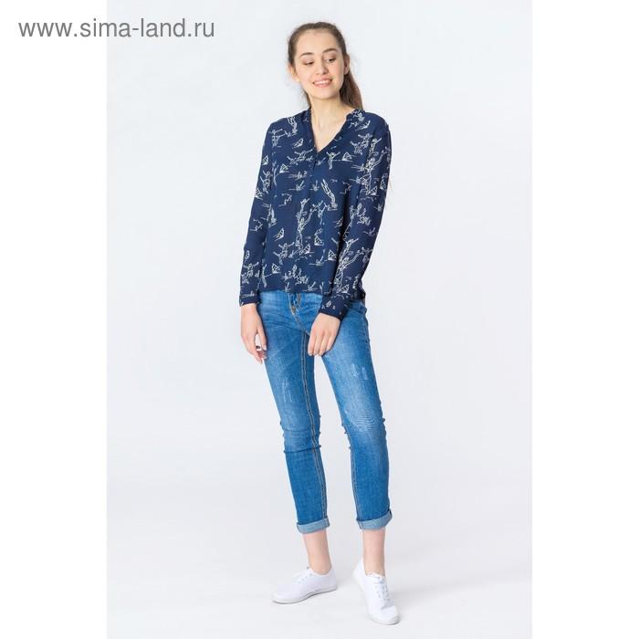 Блузка женская, синий принт, размер 44 (S), рост 170 см (арт. 1611181325)