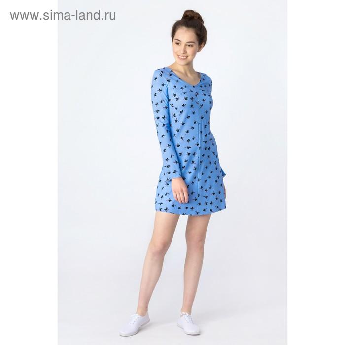 Платье женское, синий принт, размер 44 (S), рост 170 см (арт. 1611239567)