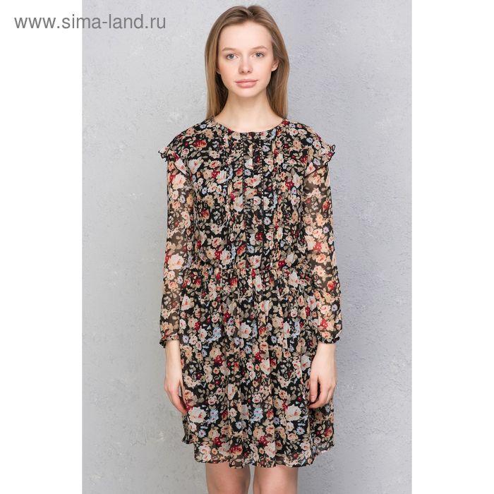 Платье женское, коричневый принт, размер 48 (XL), рост 170 см (арт. 1611094539)