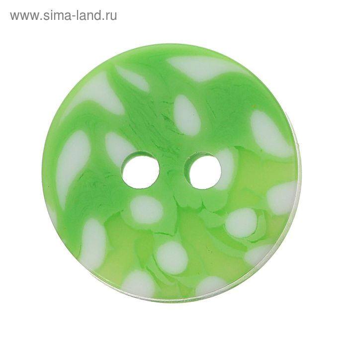 Пуговица, 2 прокола, 15мм, цвет зелёно-белый
