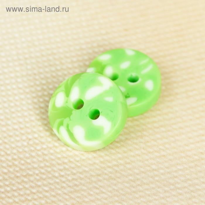 Пуговица, 2 прокола, 20,5мм, цвет зелёно-белый